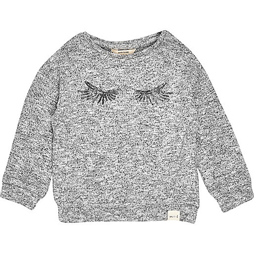 Mini girls grey sweater with sequin eyelashes
