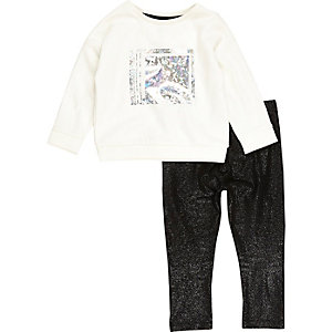 Mini girls foil sweatshirt and leggings set