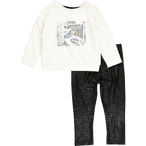 Mini girls metallic sweatshirt leggings set