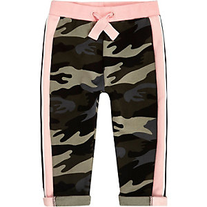 Mini girls pink camo jogger