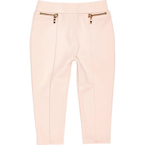 Legging au point de Rome rose poudre mini fille