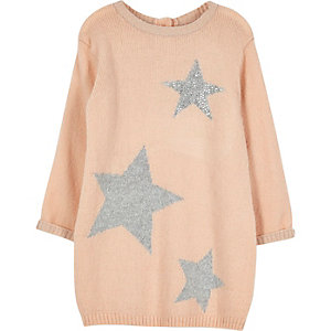 Robe pull rose en maille motif étoiles pour mini fille