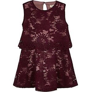 Mini girls red layered lace dress
