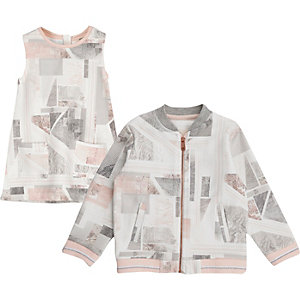 Mini girls pink marble print bomber and dress