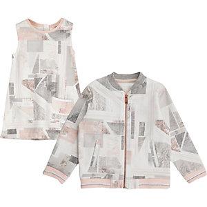 Blouson aviateur et robe imprimé marbre rose mini fille
