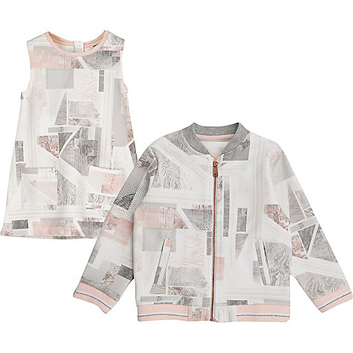 Mini girls pink marble print bomber and dress