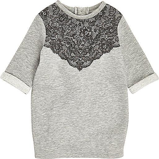 Robe en jersey grise ornée de dentelle mini fille