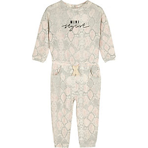 Mini girls cream fluffy snake print jumpsuit