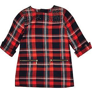 Mini girls red check zip dress