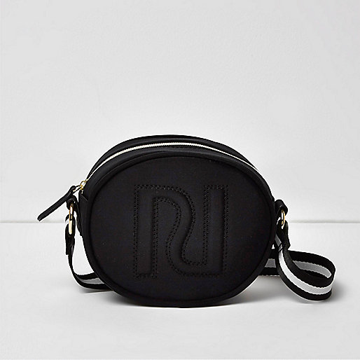 Girls black embossed RI cross body bag