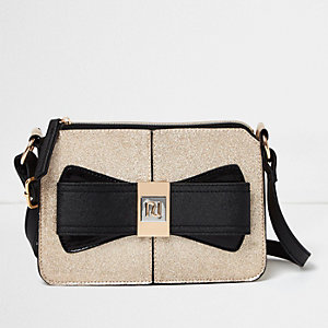 Girls gold glitter bow cross body bag