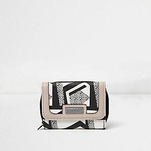 Porte-monnaie à trois volets avec imprimé géométrique noir et blanc