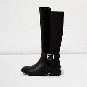 Girls black patent panel knee high boots