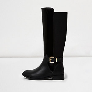 Girls black patent panel knee high boots