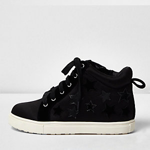 Girls black star wedge hi tops