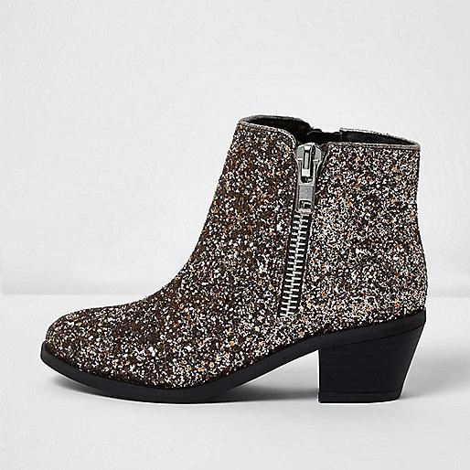 Girls silver glitter Western boots