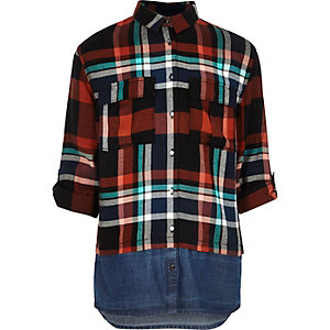 Girls orange check layered shirt