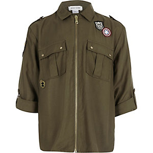 Khaki badge zip front shirt