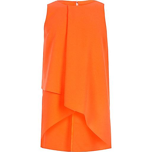 Girls orange wrap front tank top