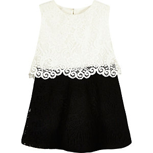 Mini girls black and white lace dress