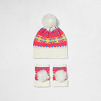 Girls cream fairisle bobble hat set
