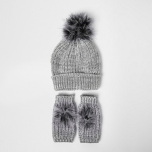 Girls silver knit bobble hat and handwarmers