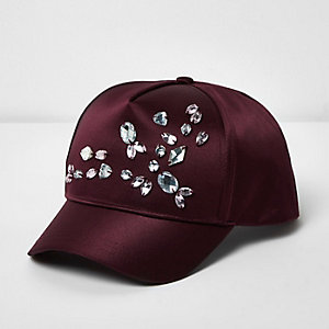 Girls dark red embellished cap