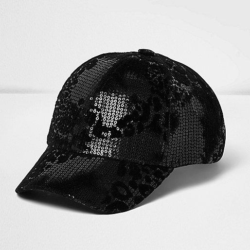Girls black sequin animal print cap