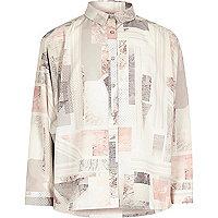 Chemise rose à imprimé marbré pour fille