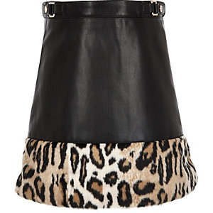 Girls black leopard print panel A-line skirt