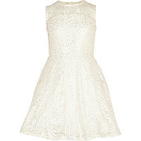Girls gold metallic lace prom dress