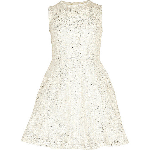 Girls gold foil lace prom dress