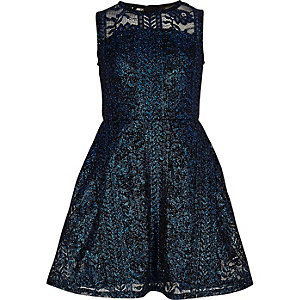 Bright blue metallic lace prom dress