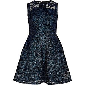 Robe de galas en dentelle bleu métallisé pour fille