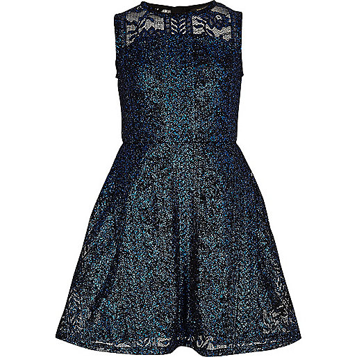 Bright blue metallic lace prom dress