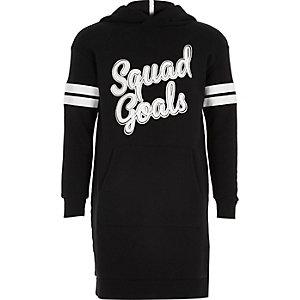 Schwarzes Print-Pulloverkleid mit Kapuze