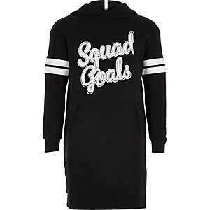 Girls black print hooded sweater dress