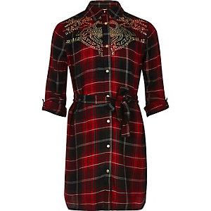 Robe chemise à carreaux rouge cloutée pour fille