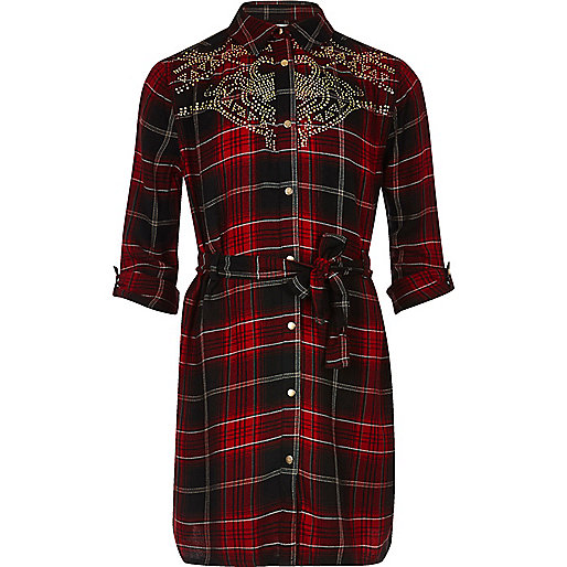 Girls red check stud shirt dress