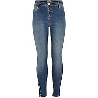 Girls blue chewed hem jegging