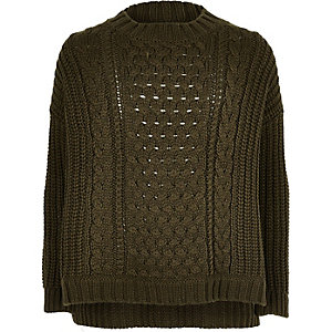Girls khaki green cable knit top