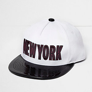 Boys white patent 'New York' cap