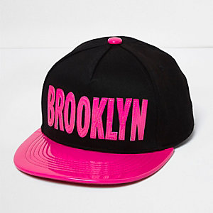 Girls black patent 'Brooklyn' cap