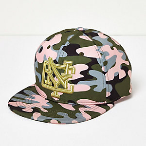 Casquette NYC motif camouflage rose pour fille