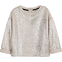 Weites Sweatshirt in Creme-Metallic