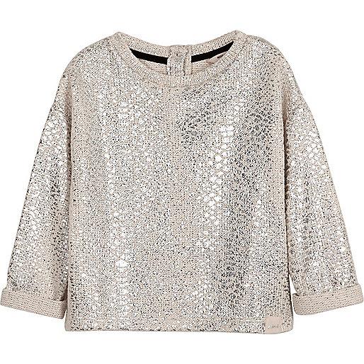 Mini girls cream metallic slouch sweatshirt