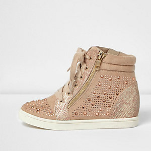 Girls pink diamanté wedge hi tops