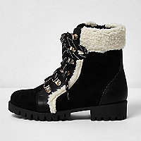 Girls black fleece trim ankle boots