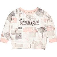 Mini girls pink marble print sweatshirt