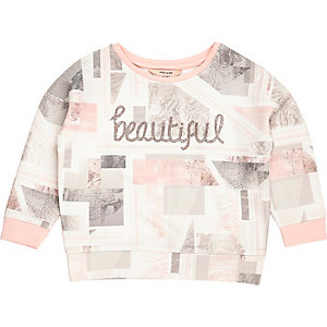 Sweat imprimé marbré rose mini fille